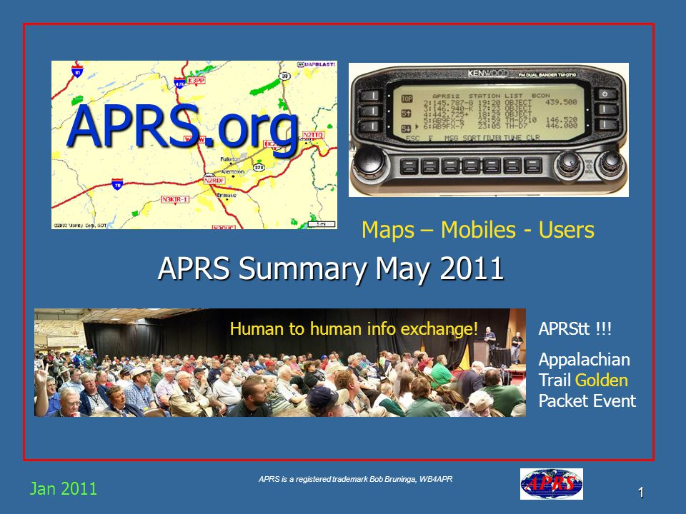 APRS is a registered trademark Bob Bruninga, WB4APR 1 APRS.org APRS Summary May 2011 Jan 2011 Maps – Mobiles - Users Human to human info exchange!APRStt !!.