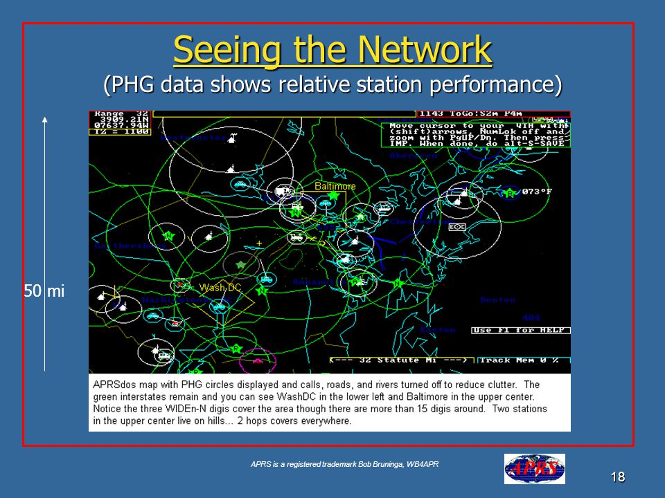 APRS is a registered trademark Bob Bruninga, WB4APR 18 Seeing the Network (PHG data shows relative station performance) 50 mi