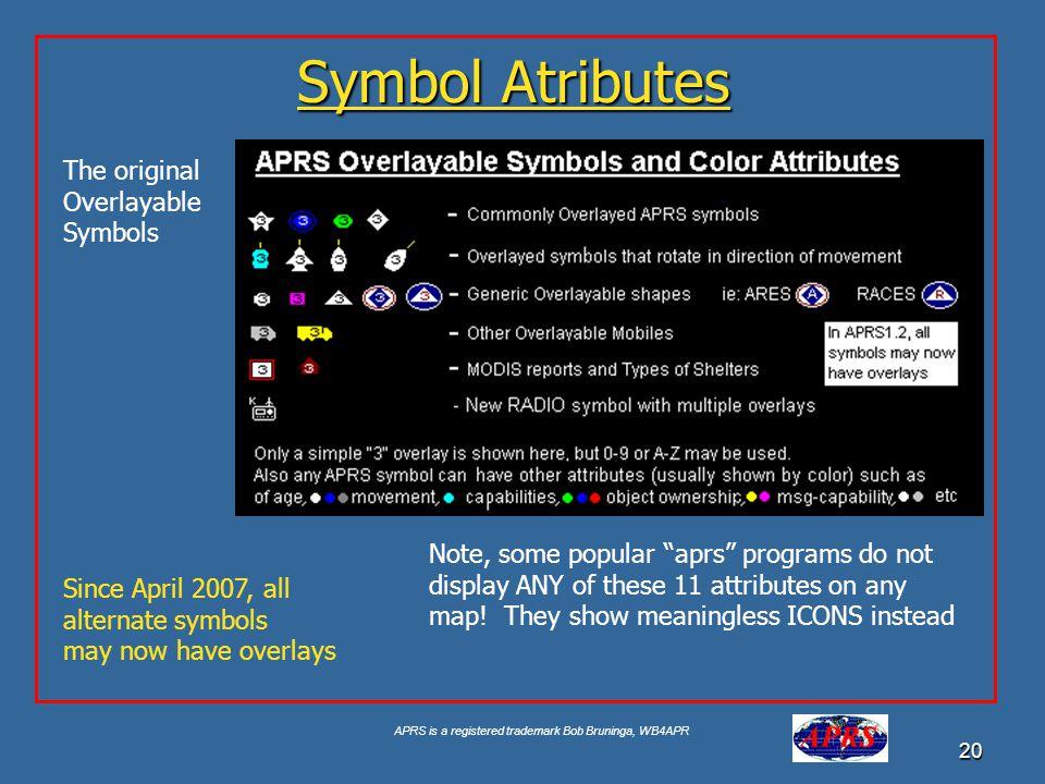 APRS is a registered trademark Bob Bruninga, WB4APR 20 Symbol Atributes The original Overlayable Symbols Since April 2007, all alternate symbols may n