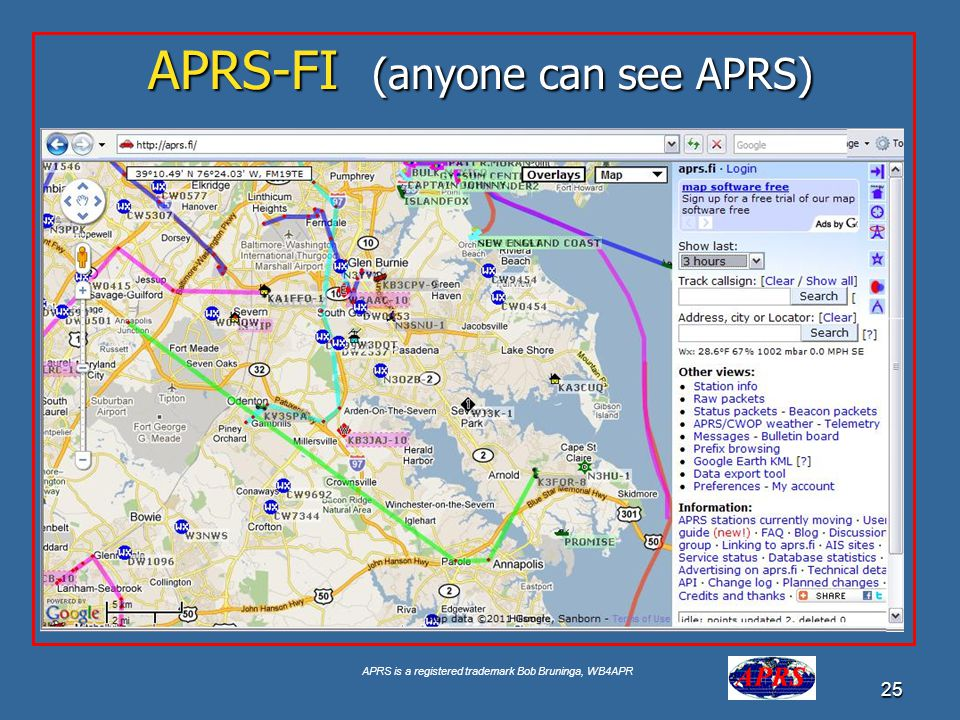 APRS is a registered trademark Bob Bruninga, WB4APR 25 APRS-FI (anyone can see APRS) Google for USNA Buoy Select USNA-1