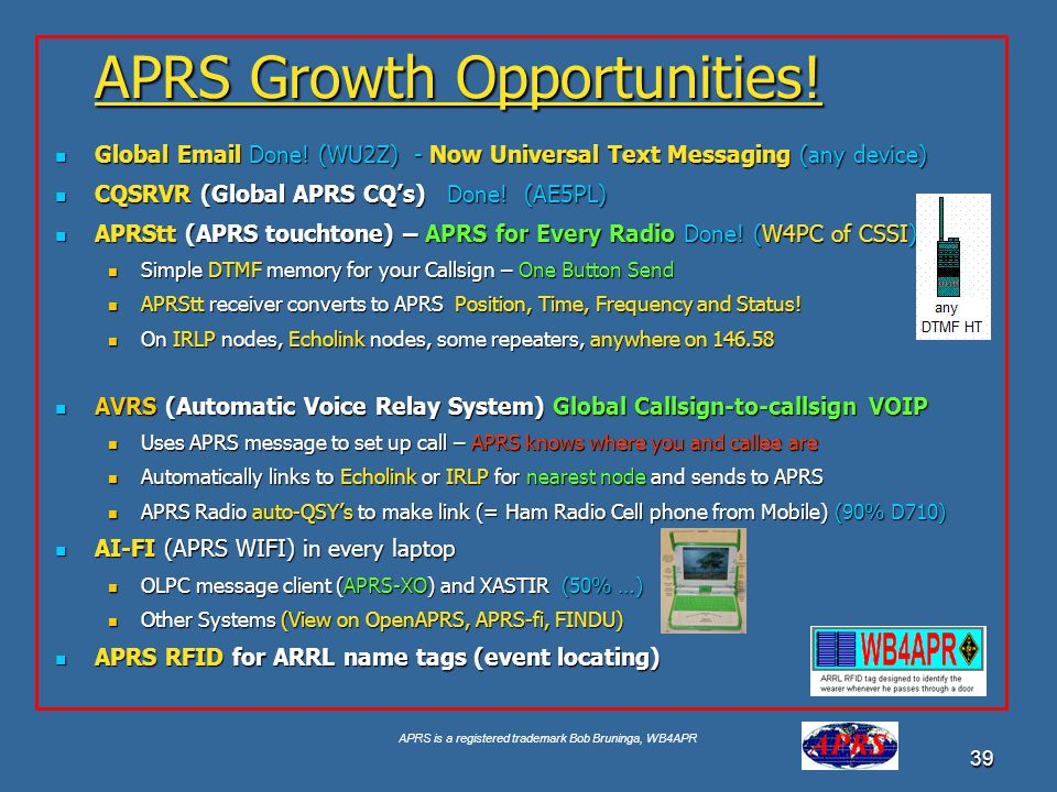 APRS is a registered trademark Bob Bruninga, WB4APR 39 APRS Growth Opportunities! Global Email Done! (WU2Z) - Now Universal Text Messaging (any device