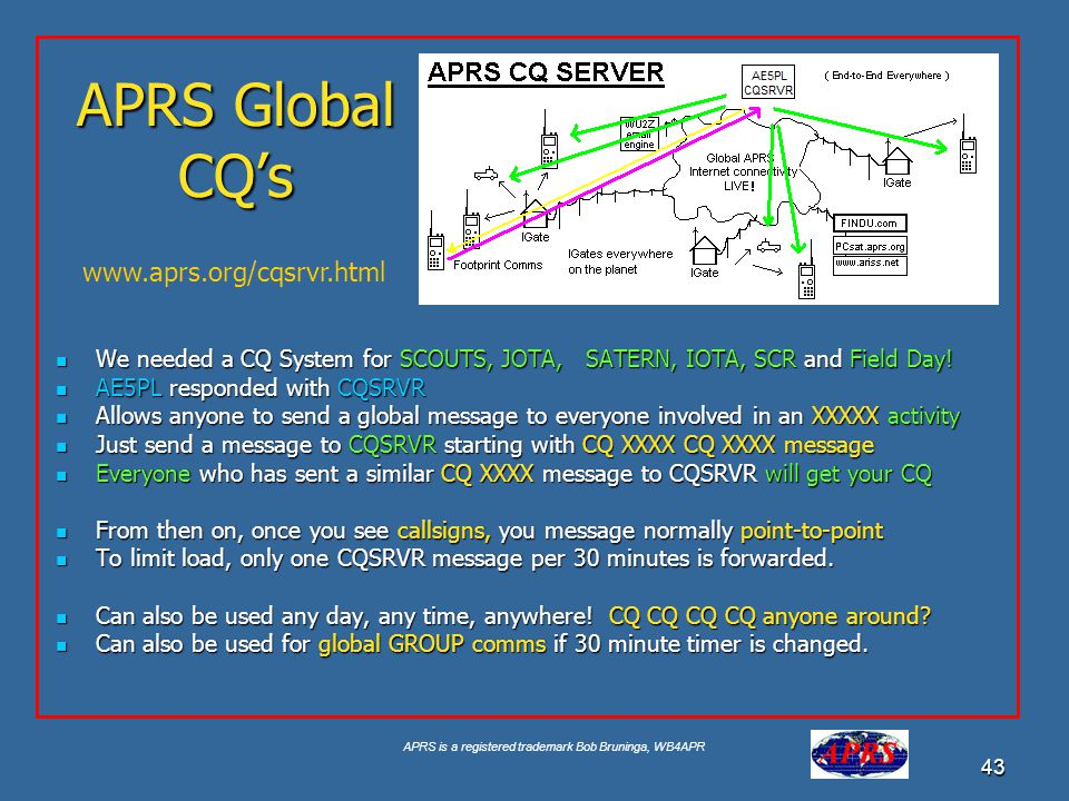APRS is a registered trademark Bob Bruninga, WB4APR 43 APRS Global CQs We needed a CQ System for SCOUTS, JOTA, SATERN, IOTA, SCR and Field Day! We nee