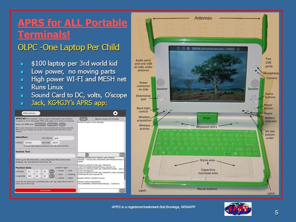 APRS is a registered trademark Bob Bruninga, WB4APR 5 OLPC -One Laptop Per Child $100 laptop per 3rd world kid $100 laptop per 3rd world kid Low power