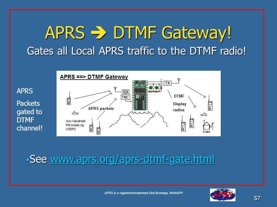 APRS is a registered trademark Bob Bruninga, WB4APR 57 APRS DTMF Gateway! See www.aprs.org/aprs-dtmf-gate.html See www.aprs.org/aprs-dtmf-gate.htmlwww