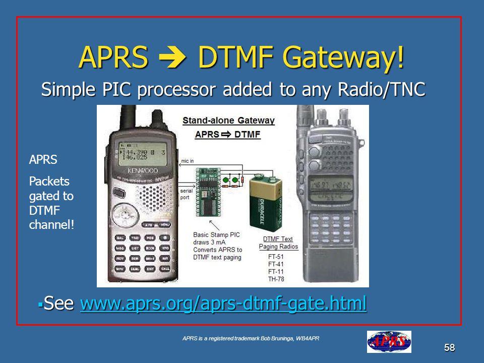 APRS is a registered trademark Bob Bruninga, WB4APR 58 APRS DTMF Gateway! See www.aprs.org/aprs-dtmf-gate.html See www.aprs.org/aprs-dtmf-gate.htmlwww