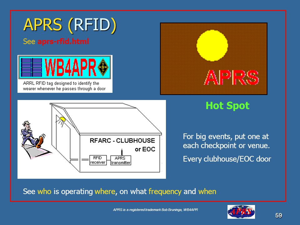 APRS is a registered trademark Bob Bruninga, WB4APR 59 APRS (RFID) See aprs-rfid.html For big events, put one at each checkpoint or venue. Every clubh