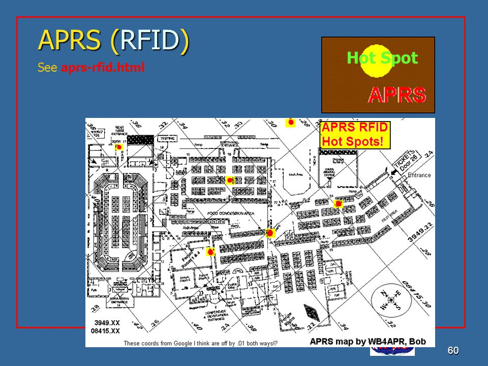 APRS is a registered trademark Bob Bruninga, WB4APR 60 APRS (RFID) See aprs-rfid.html Hot Spot