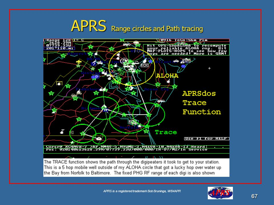 APRS is a registered trademark Bob Bruninga, WB4APR 67 APRS Range circles and Path tracing