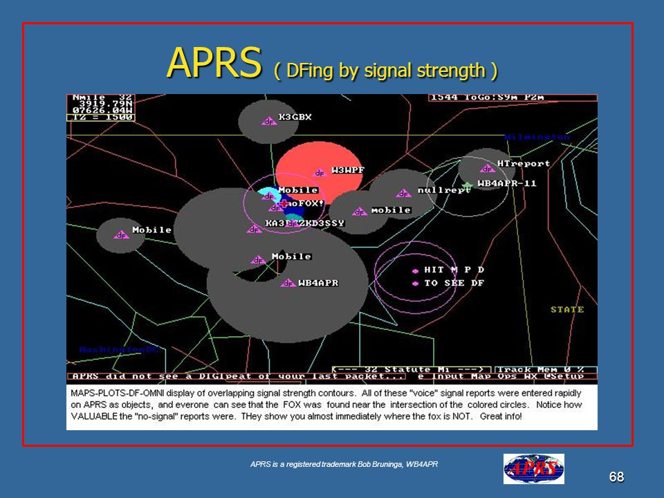 APRS is a registered trademark Bob Bruninga, WB4APR 68 APRS ( DFing by signal strength )