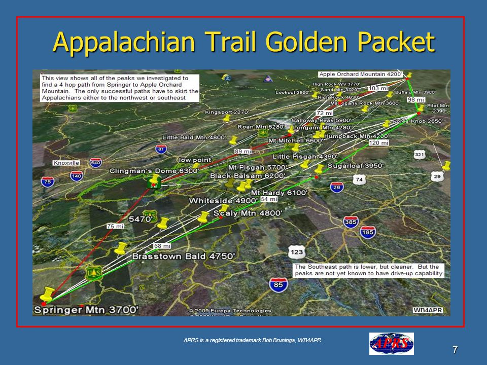 APRS is a registered trademark Bob Bruninga, WB4APR 7 Appalachian Trail Golden Packet
