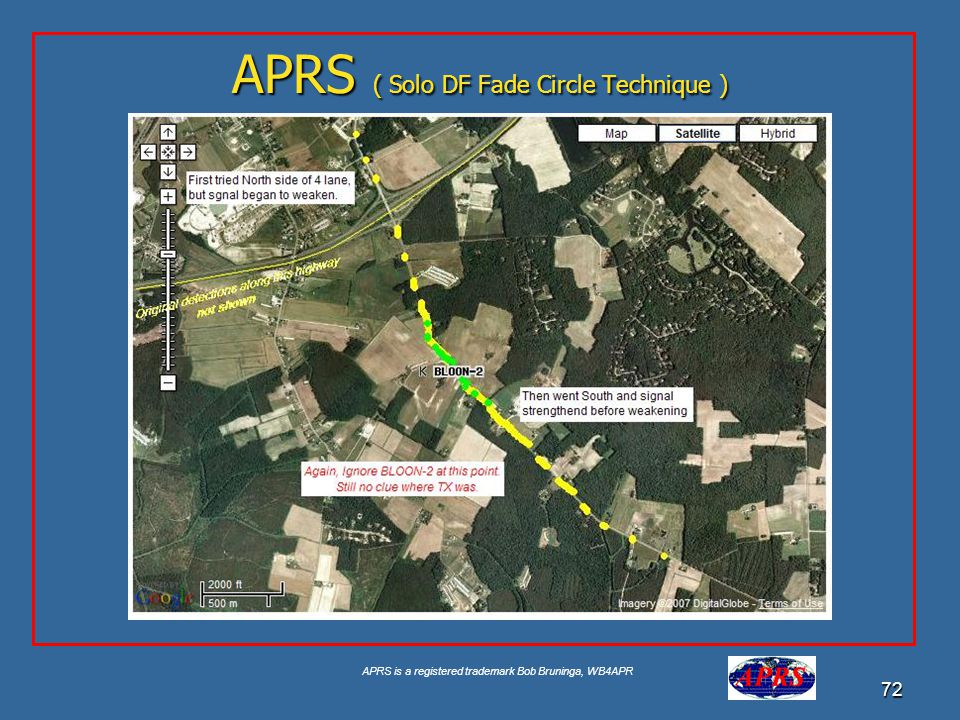 APRS is a registered trademark Bob Bruninga, WB4APR 72 APRS ( Solo DF Fade Circle Technique )