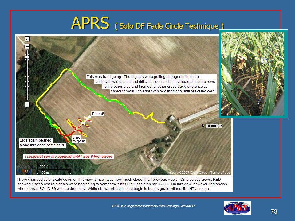 APRS is a registered trademark Bob Bruninga, WB4APR 73 APRS ( Solo DF Fade Circle Technique )