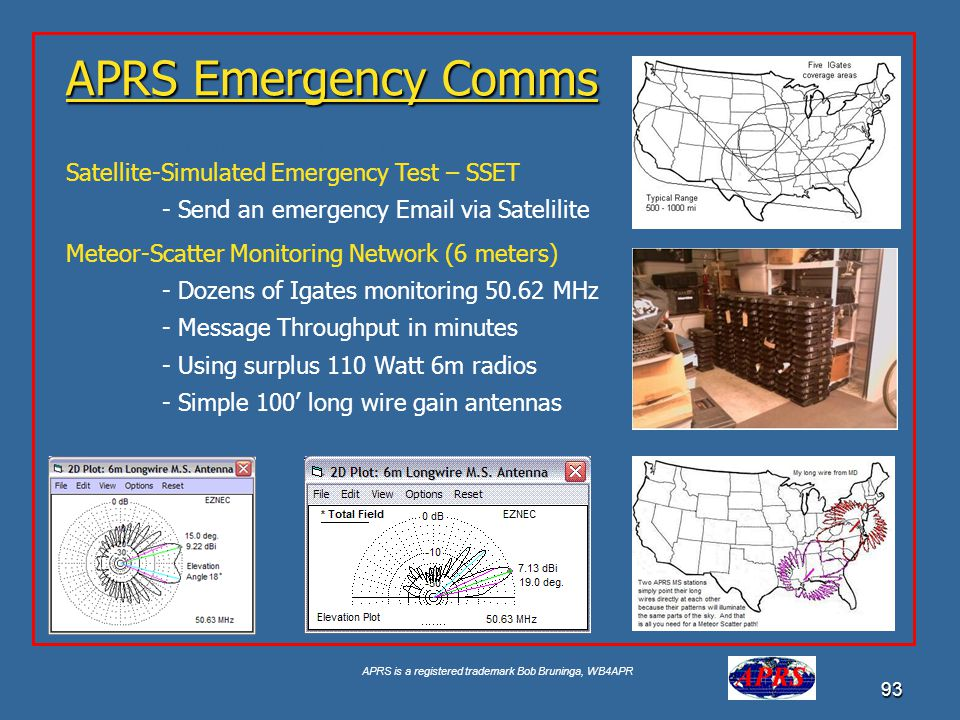 APRS is a registered trademark Bob Bruninga, WB4APR 93 APRS Emergency Comms Google for USNA Buoy Select USNA-1 Satellite-Simulated Emergency Test – SS