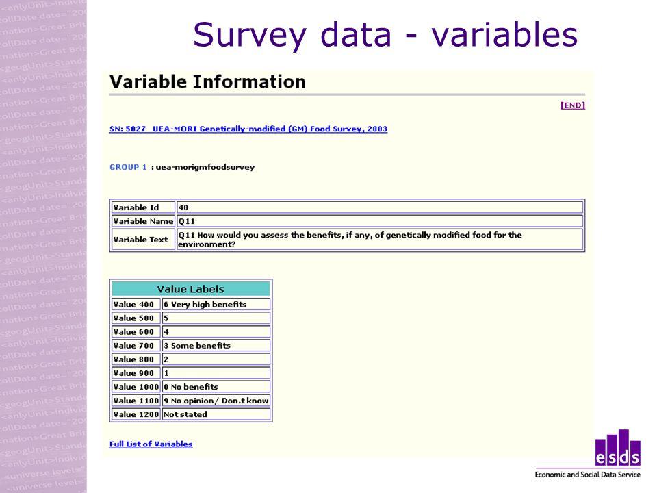Survey data - variables