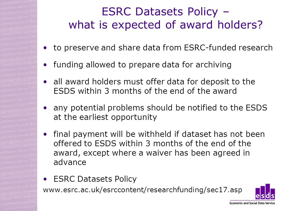 ESRC Datasets Policy – what is expected of award holders.