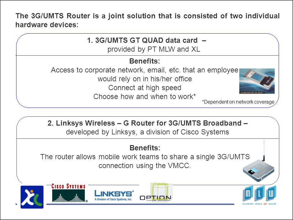 The 3G/UMTS Router is a joint solution that is consisted of two individual hardware devices: 1.