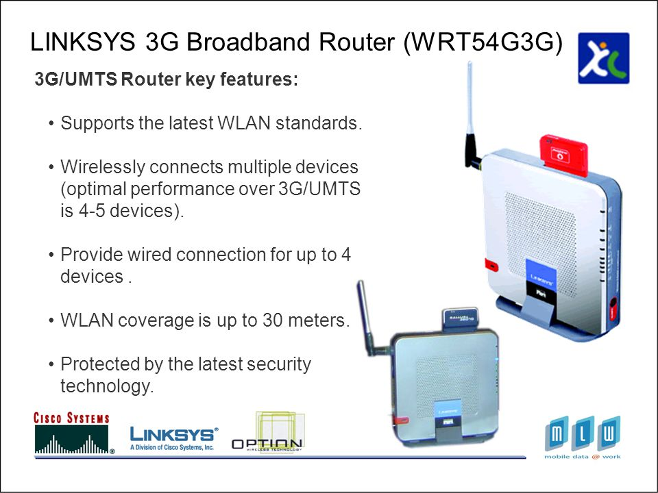 LINKSYS 3G Broadband Router (WRT54G3G) 3G/UMTS Router key features: Supports the latest WLAN standards.