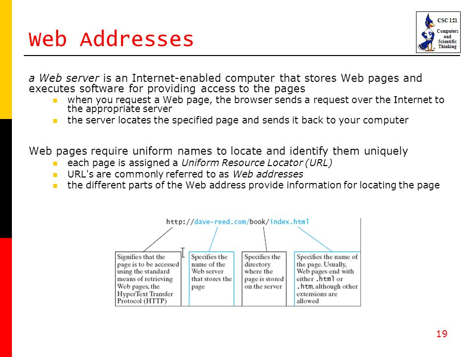 19 Web Addresses a Web server is an Internet-enabled computer that stores Web pages and executes software for providing access to the pages when you r