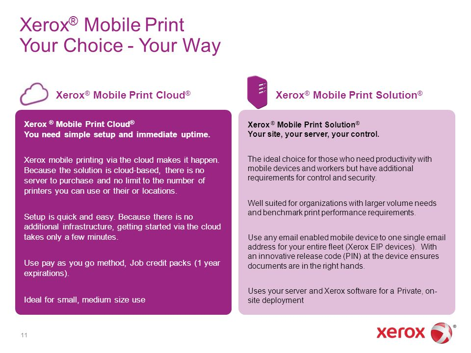 Xerox ® Mobile Print Cloud ® You need simple setup and immediate uptime. Xerox mobile printing via the cloud makes it happen. Because the solution is