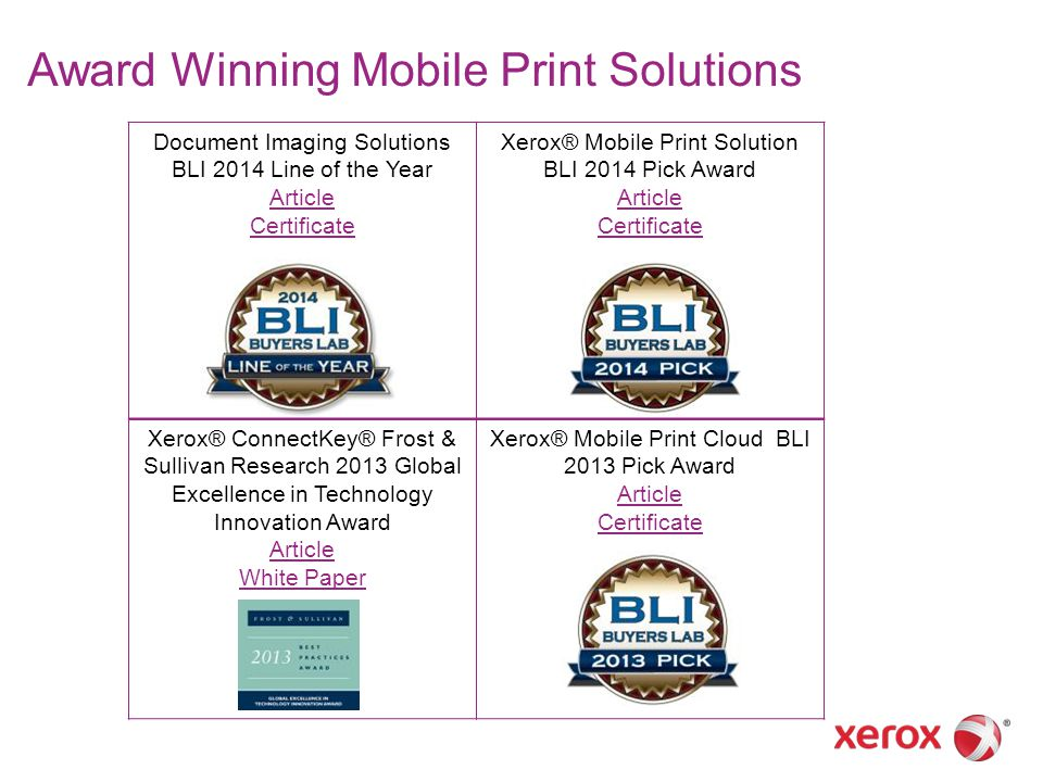 Document Imaging Solutions BLI 2014 Line of the Year Article Certificate Xerox® Mobile Print Solution BLI 2014 Pick Award Article Certificate Xerox® C