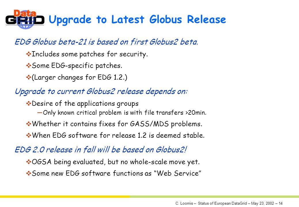 C. Loomis – Status of European DataGrid – May 23, 2002 – 14 Upgrade to Latest Globus Release EDG Globus beta-21 is based on first Globus2 beta. Includ