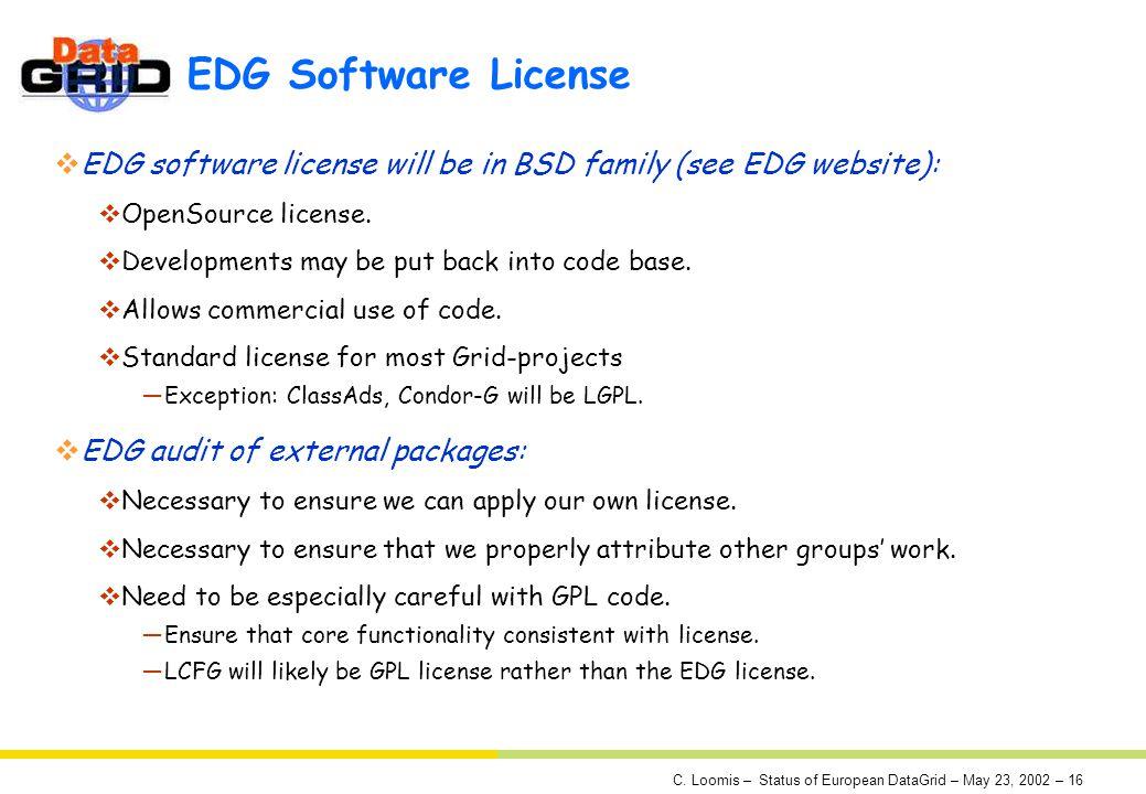 C. Loomis – Status of European DataGrid – May 23, 2002 – 16 EDG Software License EDG software license will be in BSD family (see EDG website): OpenSou