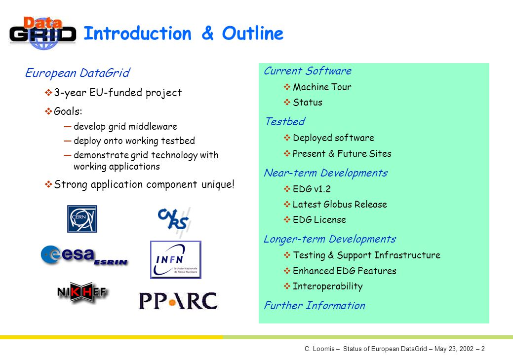 C. Loomis – Status of European DataGrid – May 23, 2002 – 2 Introduction & Outline European DataGrid 3-year EU-funded project Goals: develop grid middl