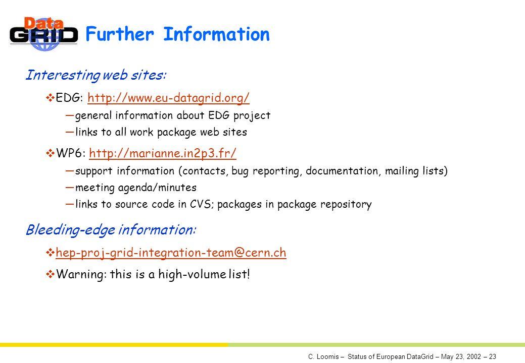 C. Loomis – Status of European DataGrid – May 23, 2002 – 23 Further Information Interesting web sites: EDG: http://www.eu-datagrid.org/http://www.eu-d