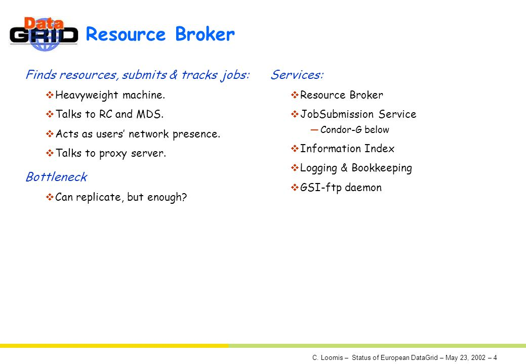C. Loomis – Status of European DataGrid – May 23, 2002 – 4 Resource Broker Finds resources, submits & tracks jobs: Heavyweight machine. Talks to RC an