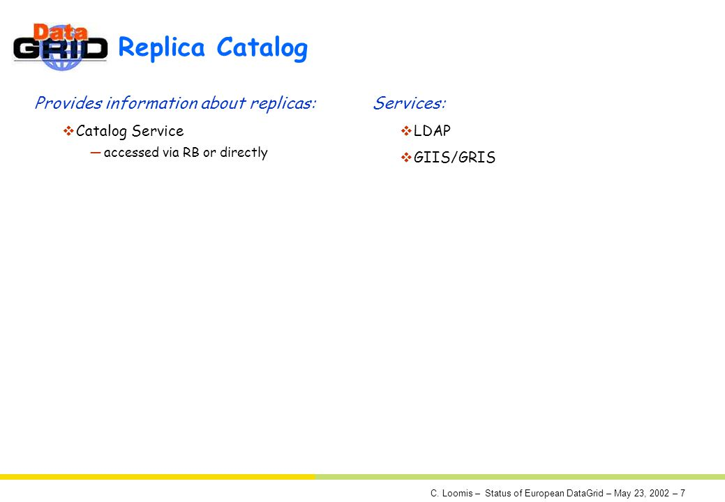 C. Loomis – Status of European DataGrid – May 23, 2002 – 7 Replica Catalog Provides information about replicas: Catalog Service accessed via RB or dir