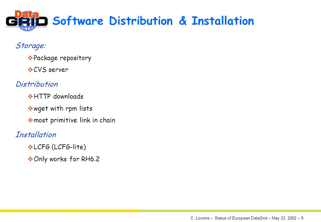 C. Loomis – Status of European DataGrid – May 23, 2002 – 9 Software Distribution & Installation Storage: Package repository CVS server Distribution HT