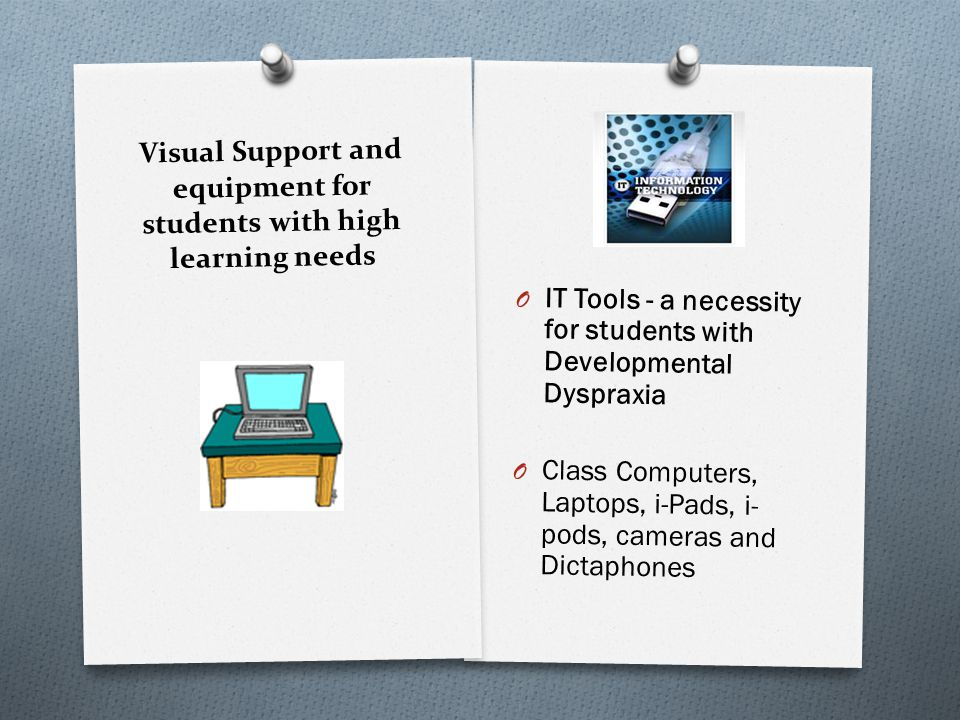 Visual Support and equipment for students with high learning needs O IT Tools - a necessity for students with Developmental Dyspraxia O Class Computer