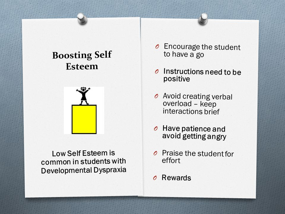Boosting Self Esteem O Encourage the student to have a go O Instructions need to be positive O Avoid creating verbal overload – keep interactions brie