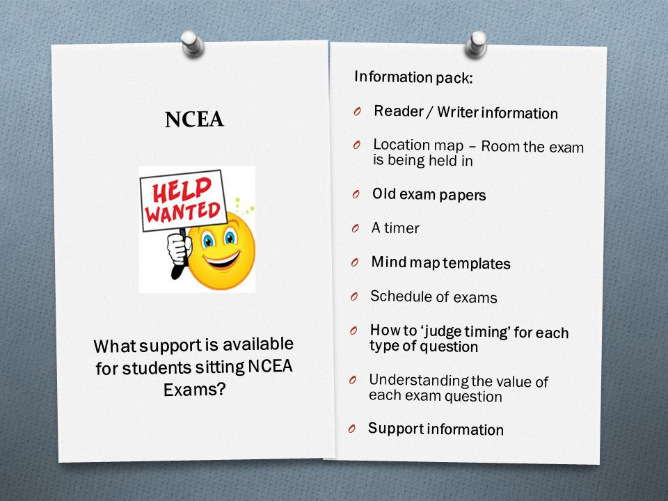 NCEA Information pack: O Reader / Writer information O Location map – Room the exam is being held in O Old exam papers O A timer O Mind map templates O Schedule of exams O How to judge timing for each type of question O Understanding the value of each exam question O Support information What support is available for students sitting NCEA Exams