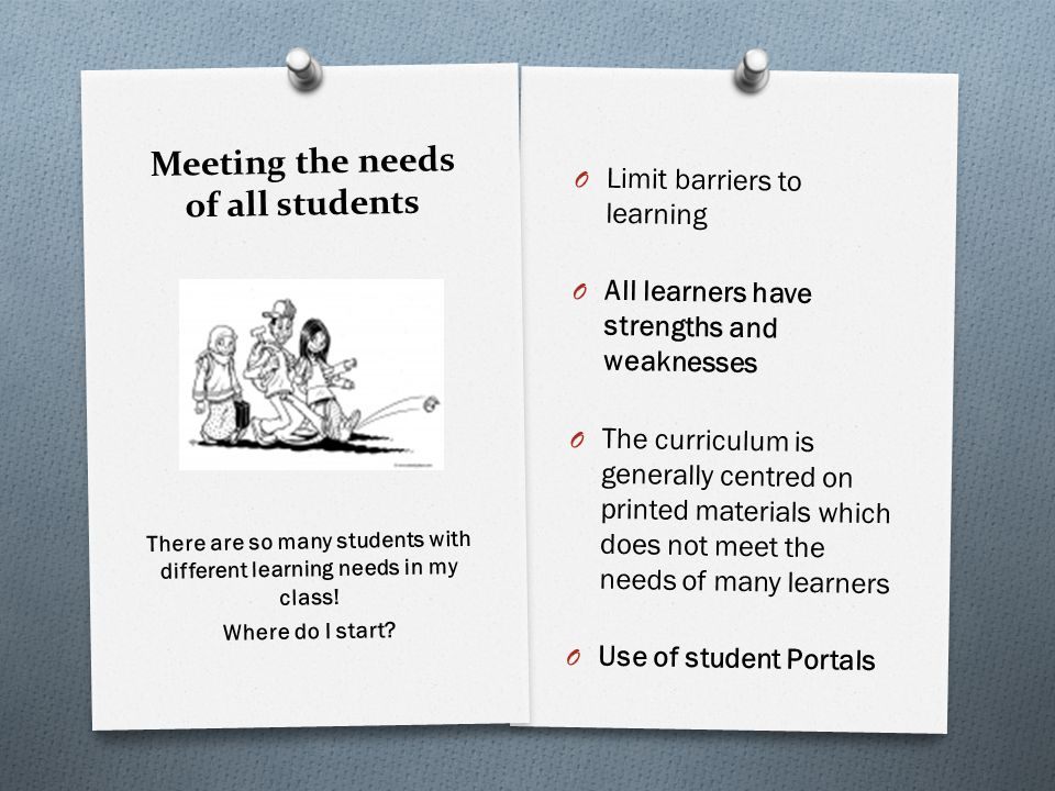 Meeting the needs of all students O Limit barriers to learning O All learners have strengths and weaknesses O The curriculum is generally centred on printed materials which does not meet the needs of many learners O Use of student Portals There are so many students with different learning needs in my class.