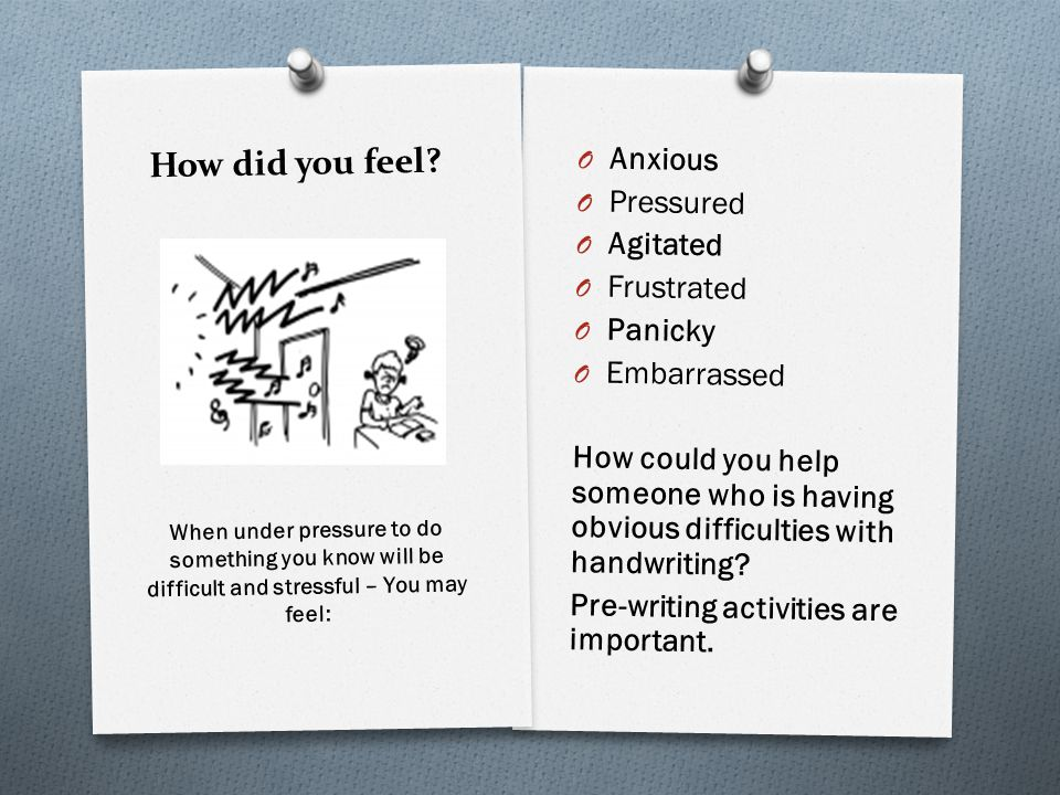 How did you feel? O Anxious O Pressured O Agitated O Frustrated O Panicky O Embarrassed How could you help someone who is having obvious difficulties