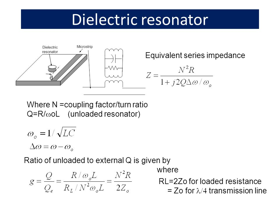 Dielectric resonator Equivalent series impedance Where N =coupling factor/turn ratio Q=R/ oL (unloaded resonator) Ratio of unloaded to external Q is given by RL=2Zo for loaded resistance = Zo for transmission line where