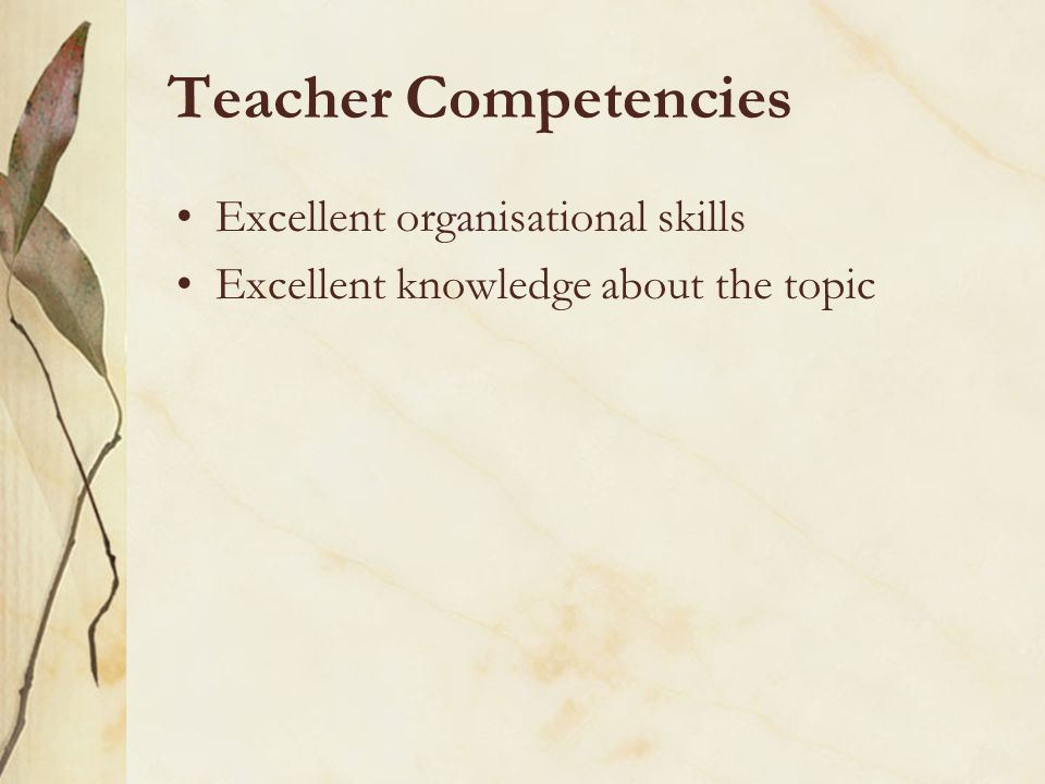 Teacher Competencies Excellent organisational skills Excellent knowledge about the topic