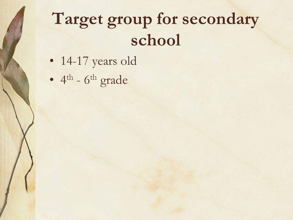 Target group for secondary school 14-17 years old 4 th - 6 th grade