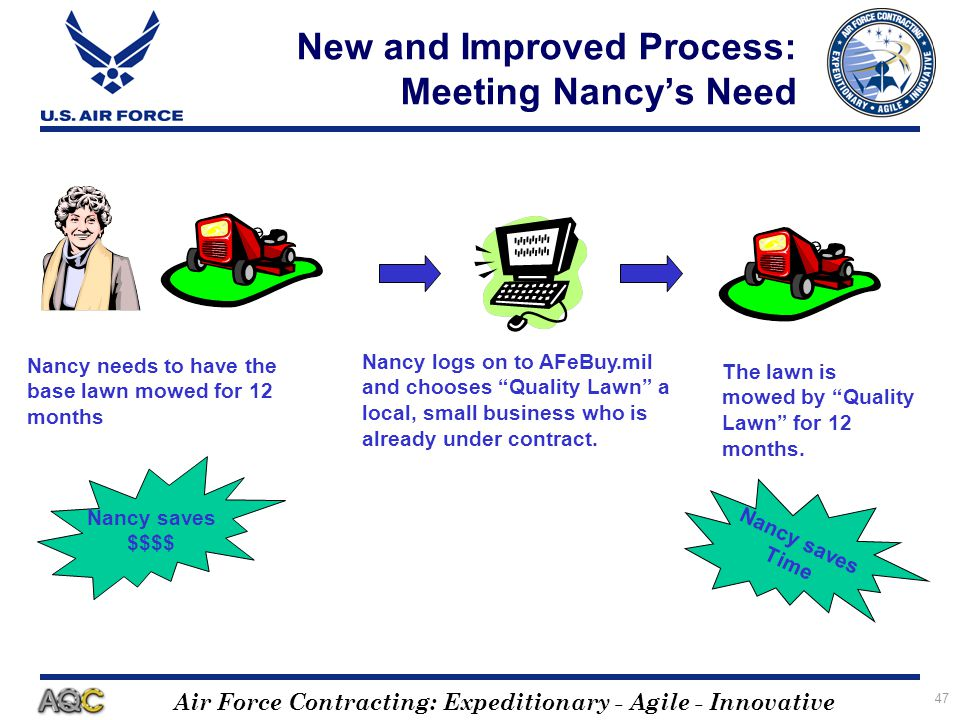 Air Force Contracting: Expeditionary - Agile - Innovative 47 New and Improved Process: Meeting Nancys Need Nancy logs on to AFeBuy.mil and chooses Qua