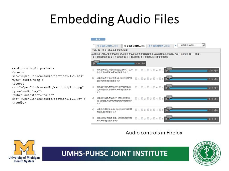 Embedding Audio Files Audio controls in Firefox