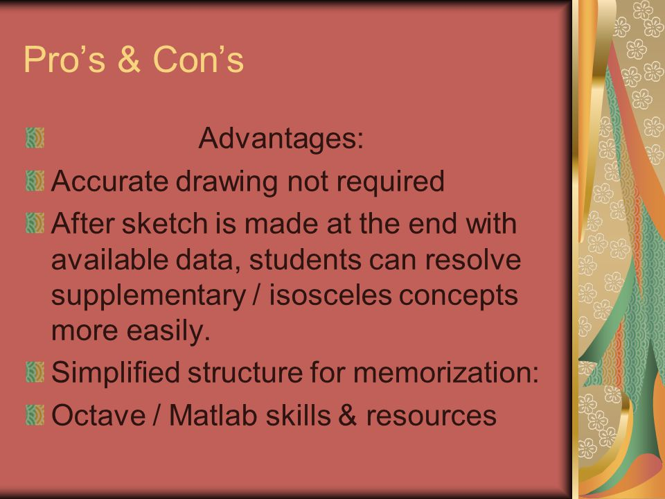 Pros & Cons Advantages: Accurate drawing not required After sketch is made at the end with available data, students can resolve supplementary / isosce