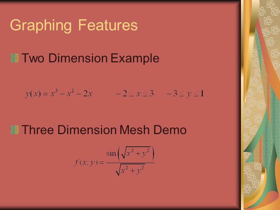 Graphing Features Two Dimension Example Three Dimension Mesh Demo