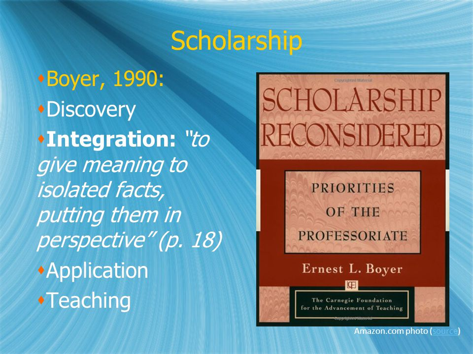 Scholarship Boyer, 1990: Discovery Integration: to give meaning to isolated facts, putting them in perspective (p.