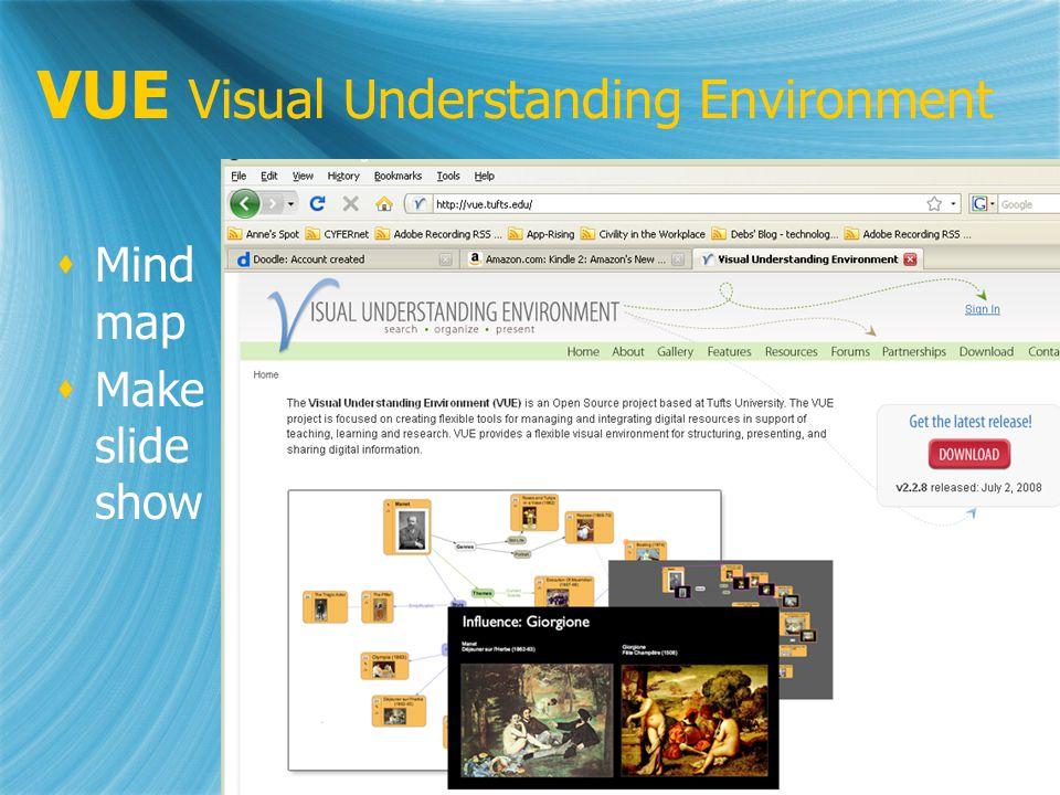VUE Visual Understanding Environment Mind map Make slide show Mind map Make slide show