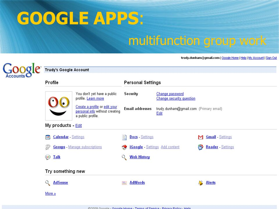 GOOGLE APPS: multifunction group work