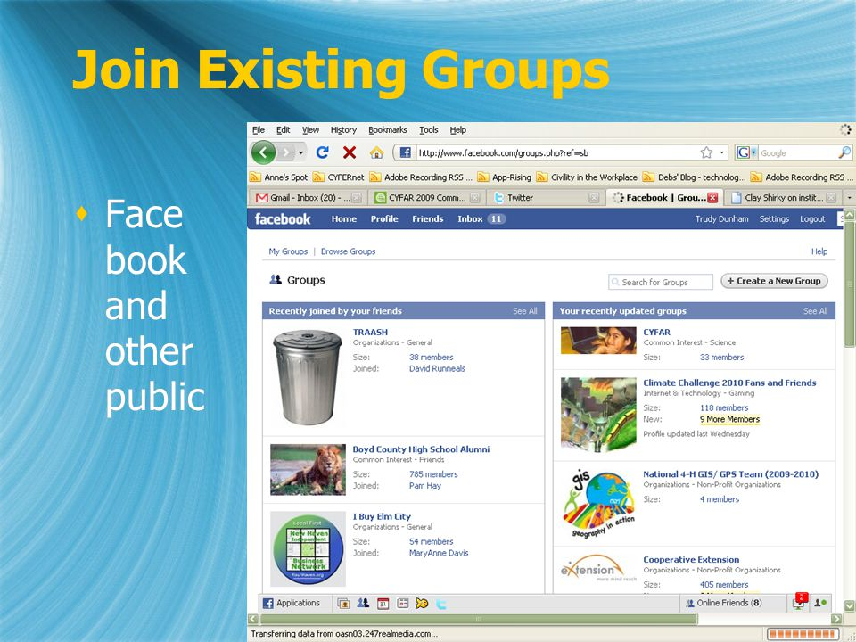 Join Existing Groups Face book and other public