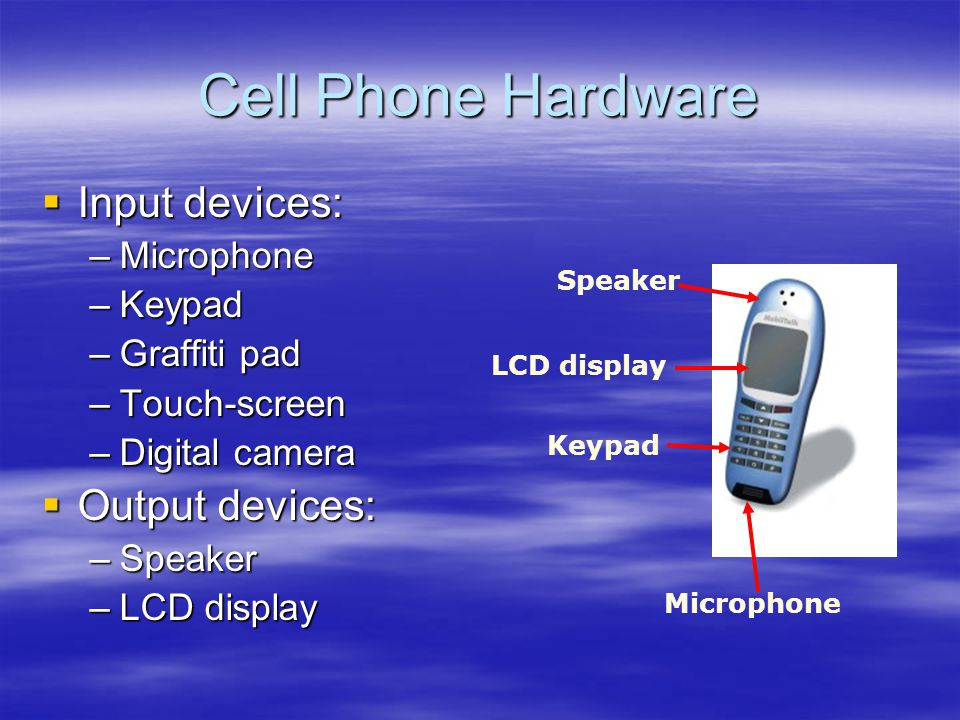 Cell Phone Hardware Input devices: Input devices: –Microphone –Keypad –Graffiti pad –Touch-screen –Digital camera Output devices: Output devices: –Spe