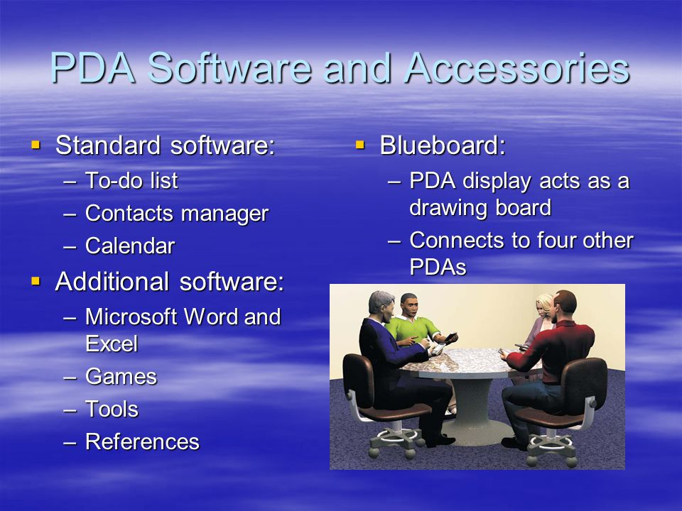 PDA Software and Accessories Standard software: Standard software: –To-do list –Contacts manager –Calendar Additional software: Additional software: –