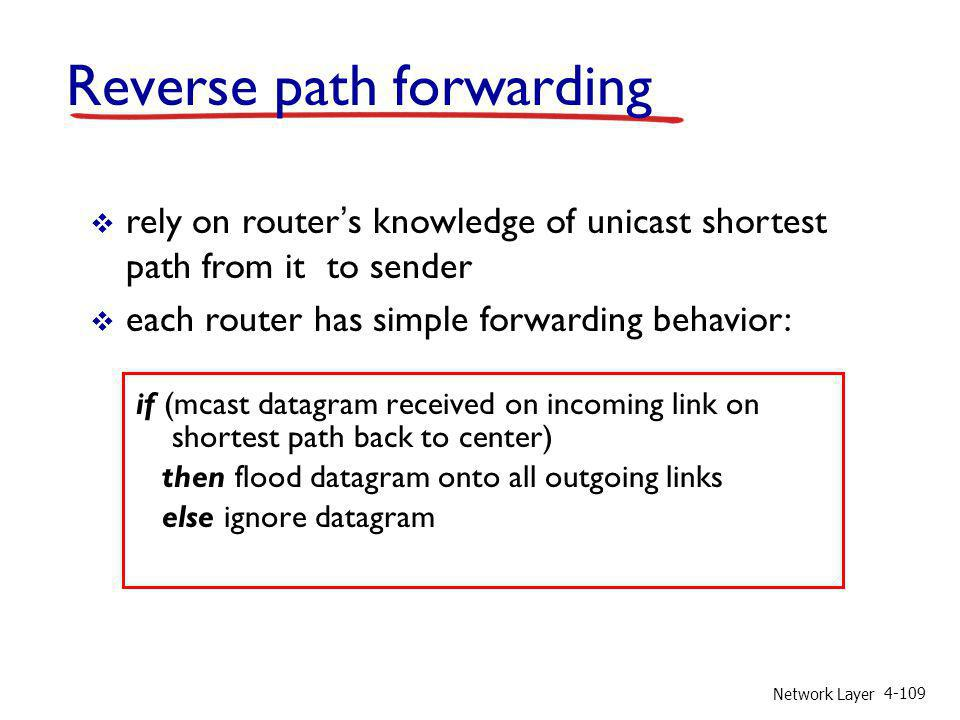 Network Layer 4-109 Reverse path forwarding if (mcast datagram received on incoming link on shortest path back to center) then flood datagram onto all